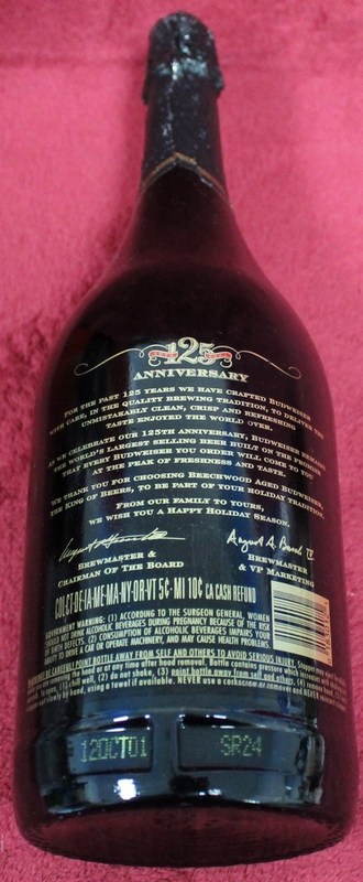 2001 Budweiser Holiday Edition 125th Anniversary 1 Quart Beer Bottle
