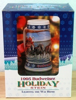 1995 Budweiser Champion Clydesdales Holiday Series Beer Stein - New in Box with COA