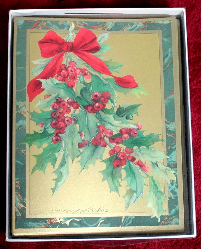 20 Caspari Christmas and Holiday Cards Brand New Sealed - Holly branch, berries and red bow