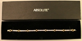 "Absolute Vermeil 35 Round Brilliant Cut CZ Diamonds in a 7-1/4"" Channel Set Tennis Bracelet"