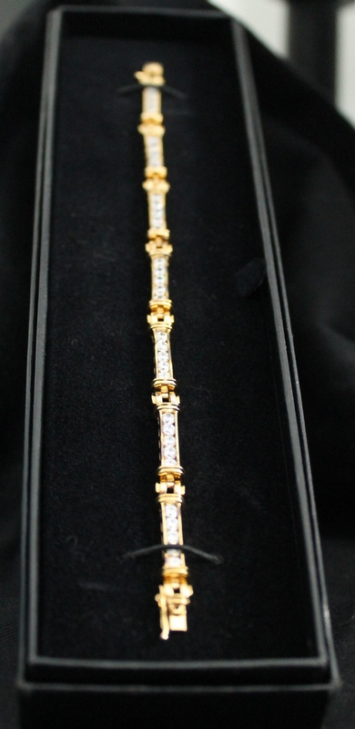 "Absolute Vermeil (gold plated .925 silver) 35 Round Diamonds 7-1/4"" Channel Set Tennis Bracelet"