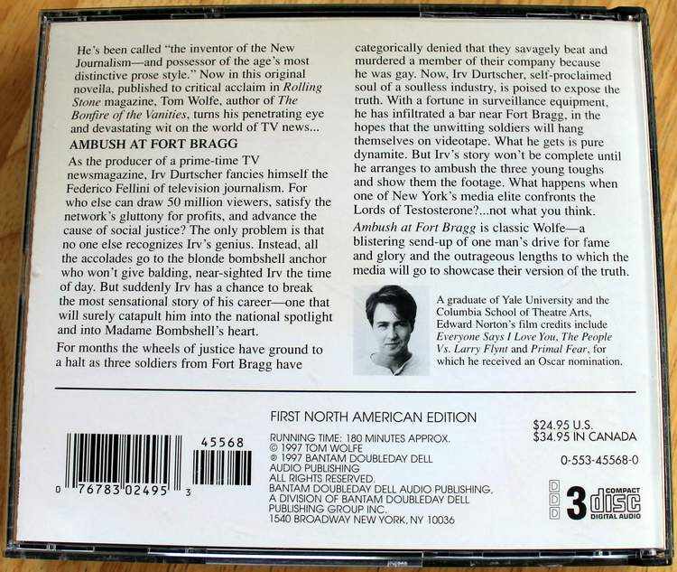 Back cover of: Ambush at Fort Bragg by Tom Wolfe - An Unabridged Production on 3 Audio CDs