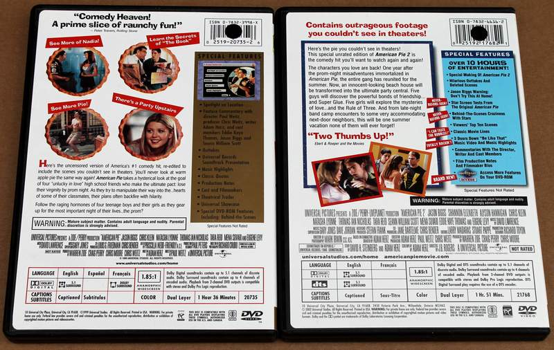 Back Cover Vews of American Pie 1 & 2 on DVD (Unrated Widescreen Collector's Edition)
