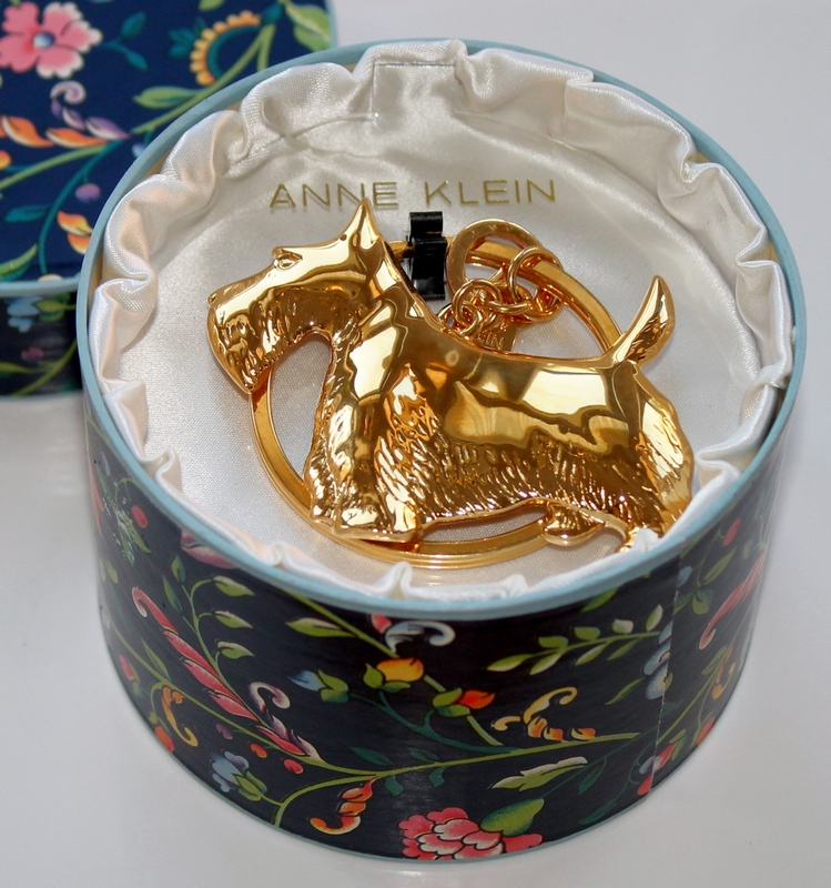 Anne Klein Gold-tone Scotty Dog Key Ring in original presentation box.