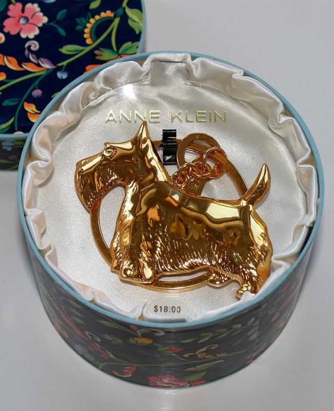 Anne Klein Gold-tone Scotty Dog Key Ring in original presentation box.