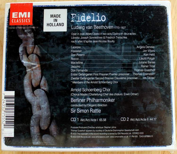 Back Cover: Beethoven Fidelio - Sir Simon Rattle - Berliner Philharmoniker - EMI Classics