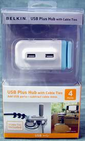 Belkin F5U314-WHT 4 Port USB 2.0 Hub with Cable Ties