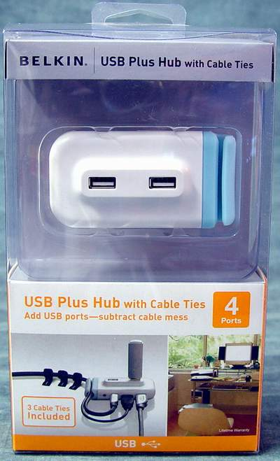 Belkin USB Plus Hub F5U314-WHT 4-Port USB 2.0 Hub with Cable Ties
