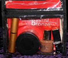 Beyond Bronze Foundation, Lip Tint, Powder, Powder Brush in clear plastic zippered pouch