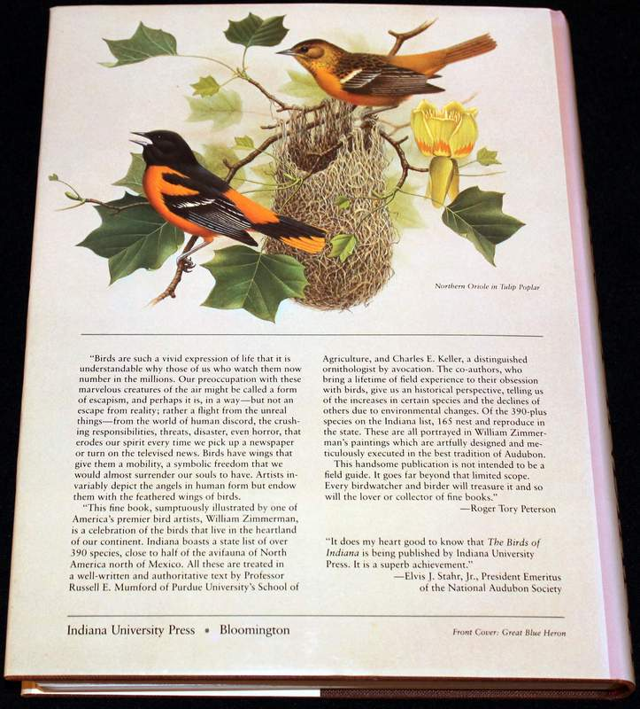 The Birds of Indiana (1984 large hardcover back view)