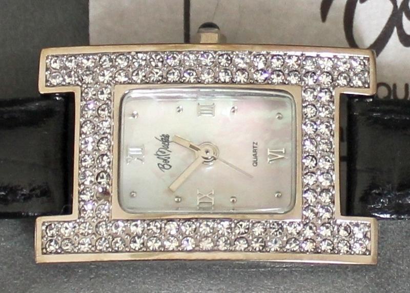 Bob Mackie quartz Watch missing 1 stone (double row of faux diamonds)