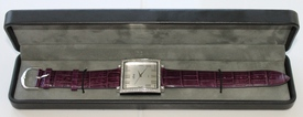 Bob Mackie's CZ Square Face Watch w/Croco Embossed Band