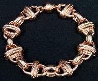 Bronzo Italia 8-inch Polished and Textured Status Link Bracelet with Magnetic Clasp