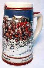 1989 Special Edition Budweiser Holiday Stein - The Hitch on a Winters Evening
