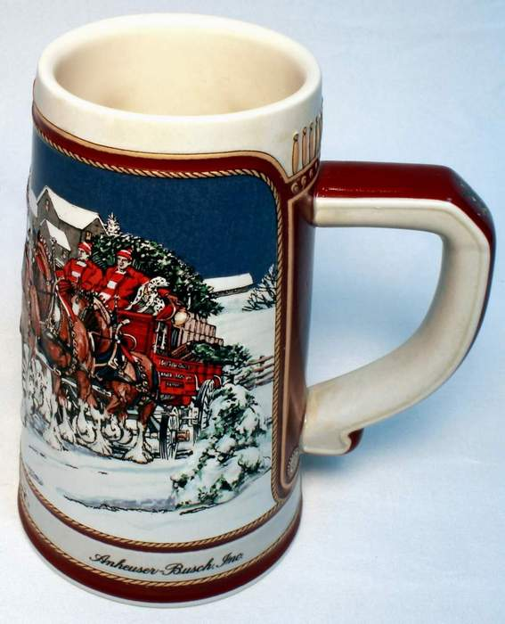 "1989 Special Edition Budweiser Holiday Stein ""The Hitch on a Winter's Evening"""