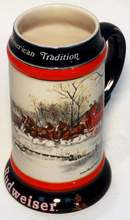 1990 Christmas Budweiser Clydesdale Beer Stein Limited Edition