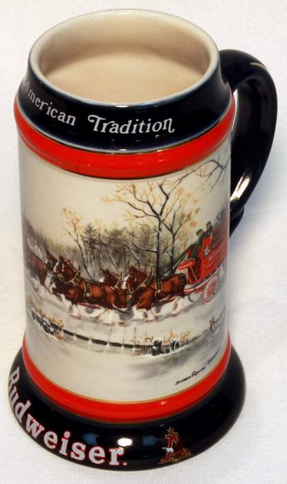1990 Budweiser Champion Clydesdales Holiday Series Beer Stein