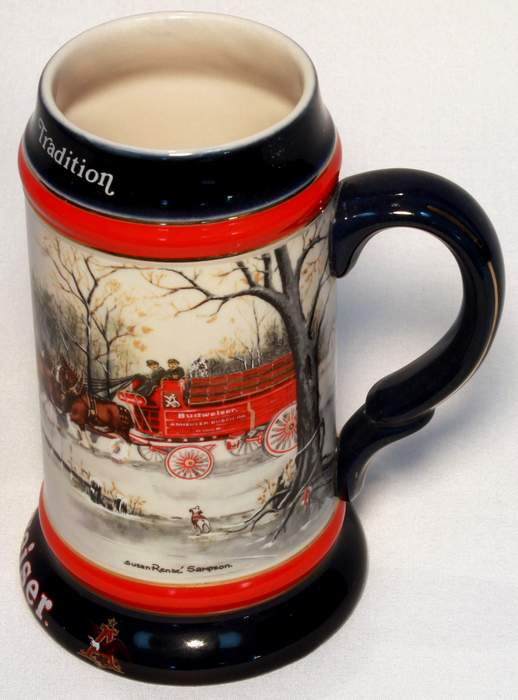 1990 Budweiser Champion Clydesdales Holiday Series Stein