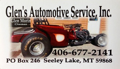 Glen's Automotive Service, Inc. -  phone 406-677-2141 - PO Box 246 Seeley Lake, MT 59868 email: glensauto@blackfoot.net - 32 years in business - ASE Certified Master Technician - AAA Approved - NAPA Auto Care Cntr. - New Tires - Tire Repair