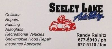 Seeley Lake Auto Body, 146 Larch Lane S. Seeley Lake, MT 59868 Randy Reinitz - owner, Phone: 406-677-5010 Fax: 406-677-5110 Collision, Repairs, Painting, Autoglass, Recreational Vehicles, Snowmobile Hood Repair, Insurance Approved