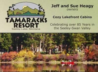 TAMARACKS RESORT, SEELEY LAKE, MT, Cozy Lakefront Cabins, Celebrating over 85 years in the Seeley-Swan Valley, 3481 Hwy 83 N, Seeley Lake, MT 59868, 406-677-2433, 800-477-7216, www.tamaracks.com, info@tamaracks.com