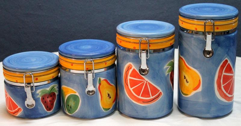 Set of 4 Blue Ceramic Canister Set with Fruit Design