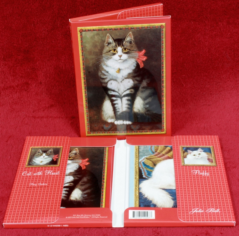 2 sets of Barnes & Noble Cat with Heart Notelet Set of 10 by Julia Bell