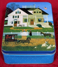 18 Charles Wysocki Note Cards plus 18 pcs. Stationery Inserts (to either insert in cards or send separately) and 36 Envelopes in a beautiful Charles Wysocki Pickwick Cottage metal tin.