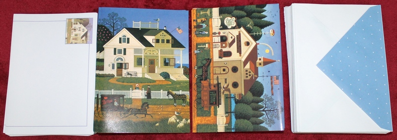 Inside contents: 18 Charles Wysocki Note Cards plus 18 pcs. Stationery Inserts (to either insert in cards or send separately) and 36 Envelopes in a beautiful Charles Wysocki Pickwick Cottage metal tin.