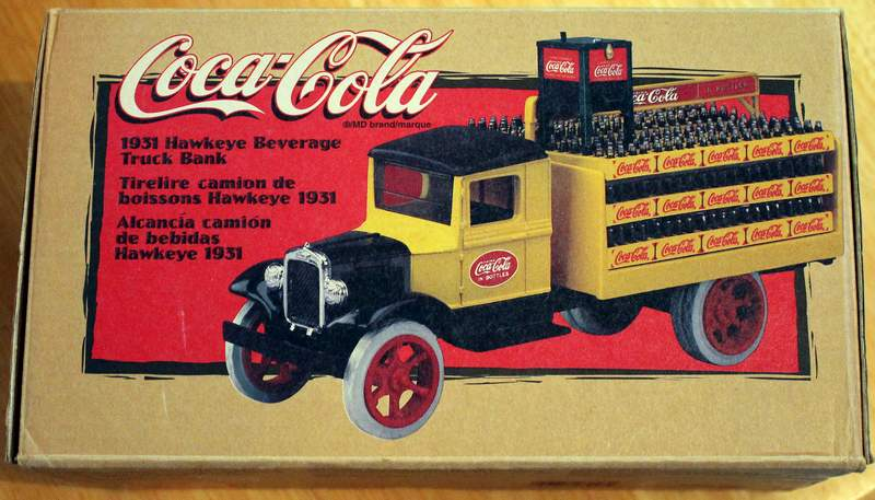 COCA COLA 1931 Hawkeye Delivery Truck Bank Locking Bank with Key - ERTL Item 27023 1/34 Scale