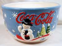 "COCA-COLA SNOWMAN 8-1/4"" CERAMIC POPCORN BOWL No. 31849"