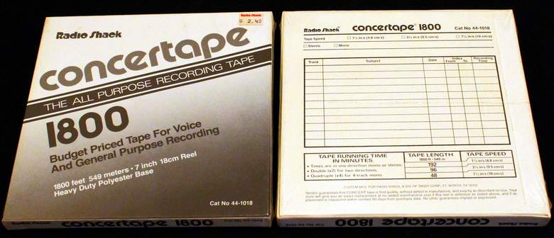 "2 Boxes of Radio Shack Concertape 1800' each of Reel-to-Reel Recording Tape on 7"" reels New - Sealed in the original boxes"
