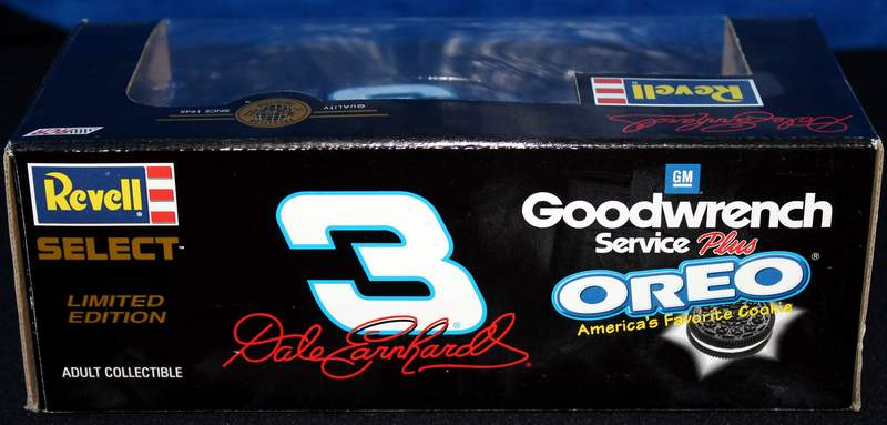 Rear view of the DALE EARNHARDT 1:24 REVELL Die Cast 2001 Monte Carlo GM GOODWRENCH SERVICE PLUS #3 OREO