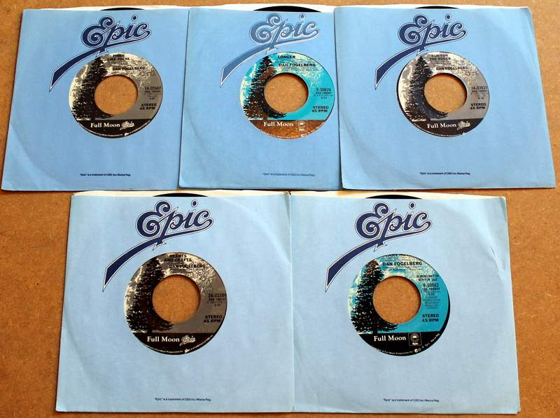 Lot of 5 Dan Fogelberg 45's in Original Sleeves Produced by Full Moon / Epic.  Times Like These 1980; Longer 1979; Run for the Roses 1981; Hearts and Crafts 1980; Demo Record - Heart Hotels