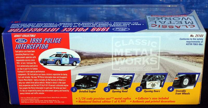 Rear View of the box.  1999 Denver Patrol Police Interceptor Diecast Ford Crown Victoria Classic Metal Works 1/24 scale model