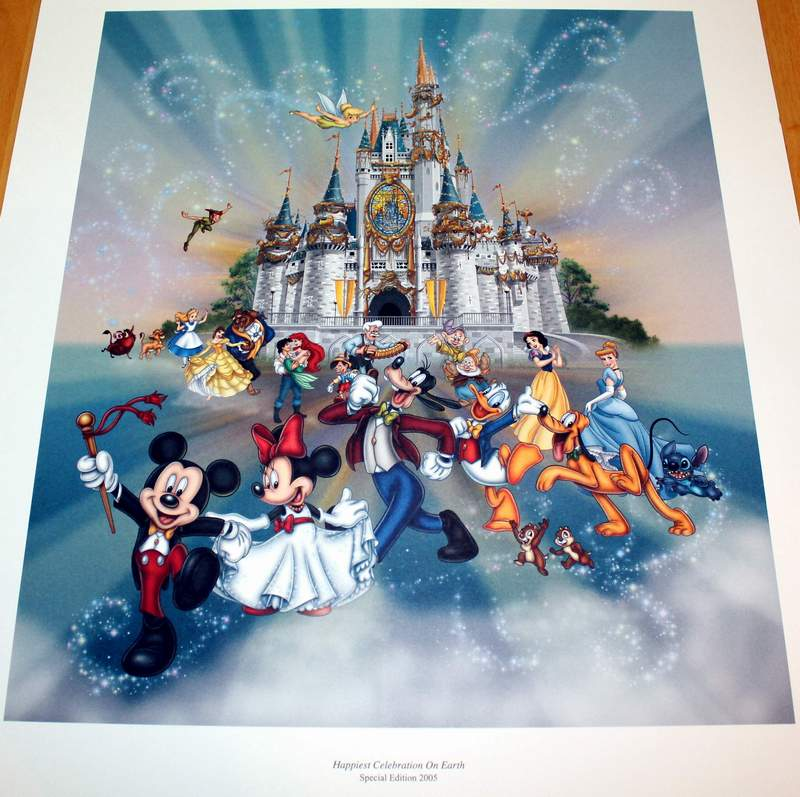 Close-up view of the Happiest Celebration on Earth Disney World 2005 Limited Release Commemorative Lithograph