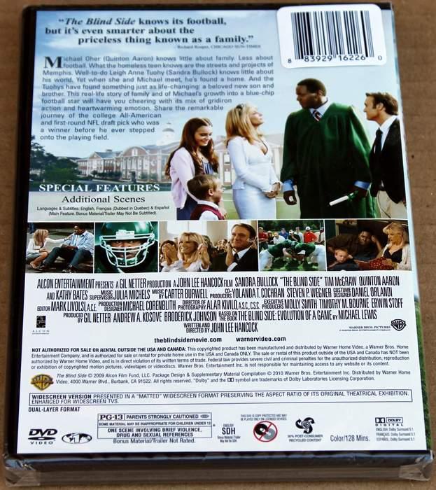 The Blind Side - starring Sandra Bullock - Brand New Sealed DVD (back cover)