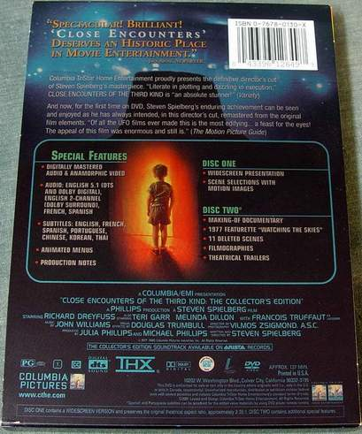 (Back View) Close Encounters of the Third Kind Widescreen Collector's Edition 2-Disc DVD Set