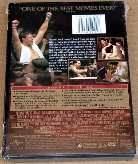 Cinderella Man - starring Russell Crowe and Renee Zellweger - Brand New Sealed DVD (back cover)