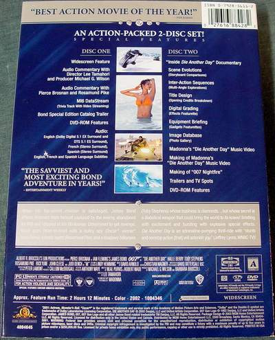 (Back View) DIE ANOTHER DAY Widescreen Special Edition 2-Disc DVD Set