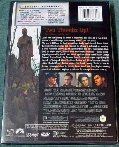 (Back View) Enemy at the Gates DVD Brand New Sealed in Shrink-Wrap