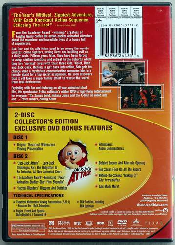 Back cover of The Incredibles - a Disney PIXAR Film, Widescreen 2-Disc Collector's Edition 2005 DVD
