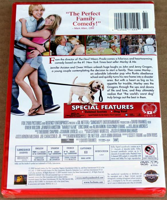 Marley and Me - Brand New Sealed DVD (Back Cover)