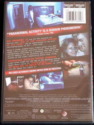 Paranormal Activity Starring Katie Featherston and Micah Sloat (2009) (rear view)