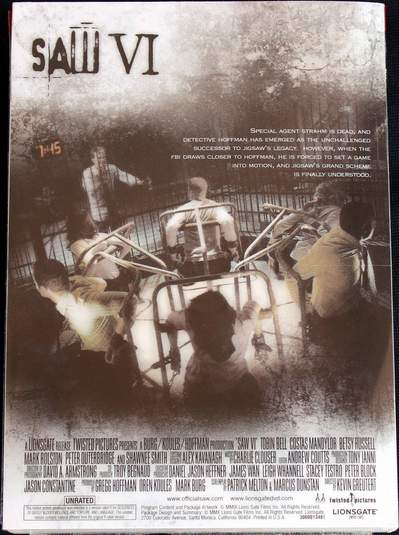 Saw VI (Widescreen Unrated Edition) (2009) (DVD Case back view)