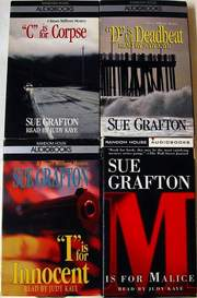 4 Audiobooks by Sue Grafton C is for Corpse D is for Deadbeat I is for Innocent & M is for Malice