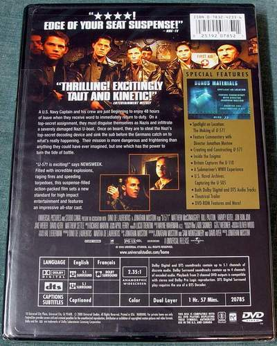 (Back View) U-571 Widescreen Collector's Edition DVD Brand New Sealed in Shrink-Wrap
