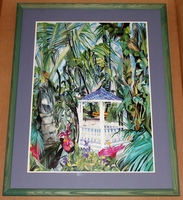 Eileen Seitz 1991 Purple Gazebo Signed, Framed and Matted Print