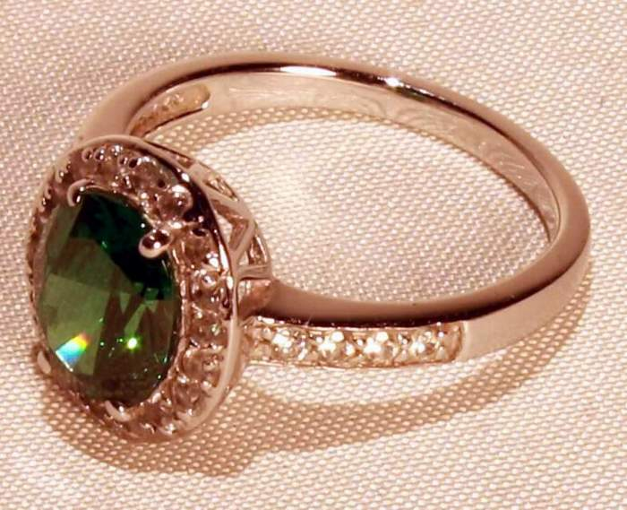 Epiphany Platinum Clad Diamonique Simulated EMERALD RING (Size 9)