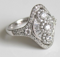 Epiphany Platinum Clad Diamonique 1.75 cttw Fancy Cut Ring Size 9